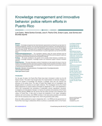 Journal of Knowledge Management,Knowledge Management and Innovative Behavior: Police Reform Efforts in Puerto Rico,Luis Castro, UAGM, Puerto Rico